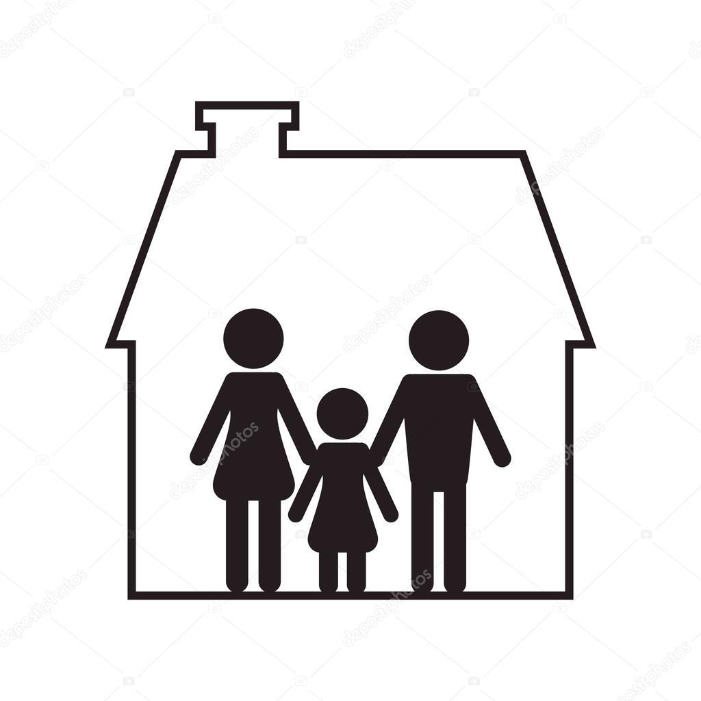 familie und haus piktogramm symbol stockvektor jemastock 119811172. Black Bedroom Furniture Sets. Home Design Ideas