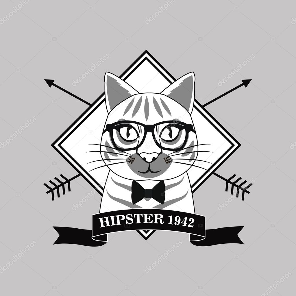 7f31983f226 Cat glasses frame arrow animal hipster style retro fashion icon. Black  white grey illustration — Vector by ...