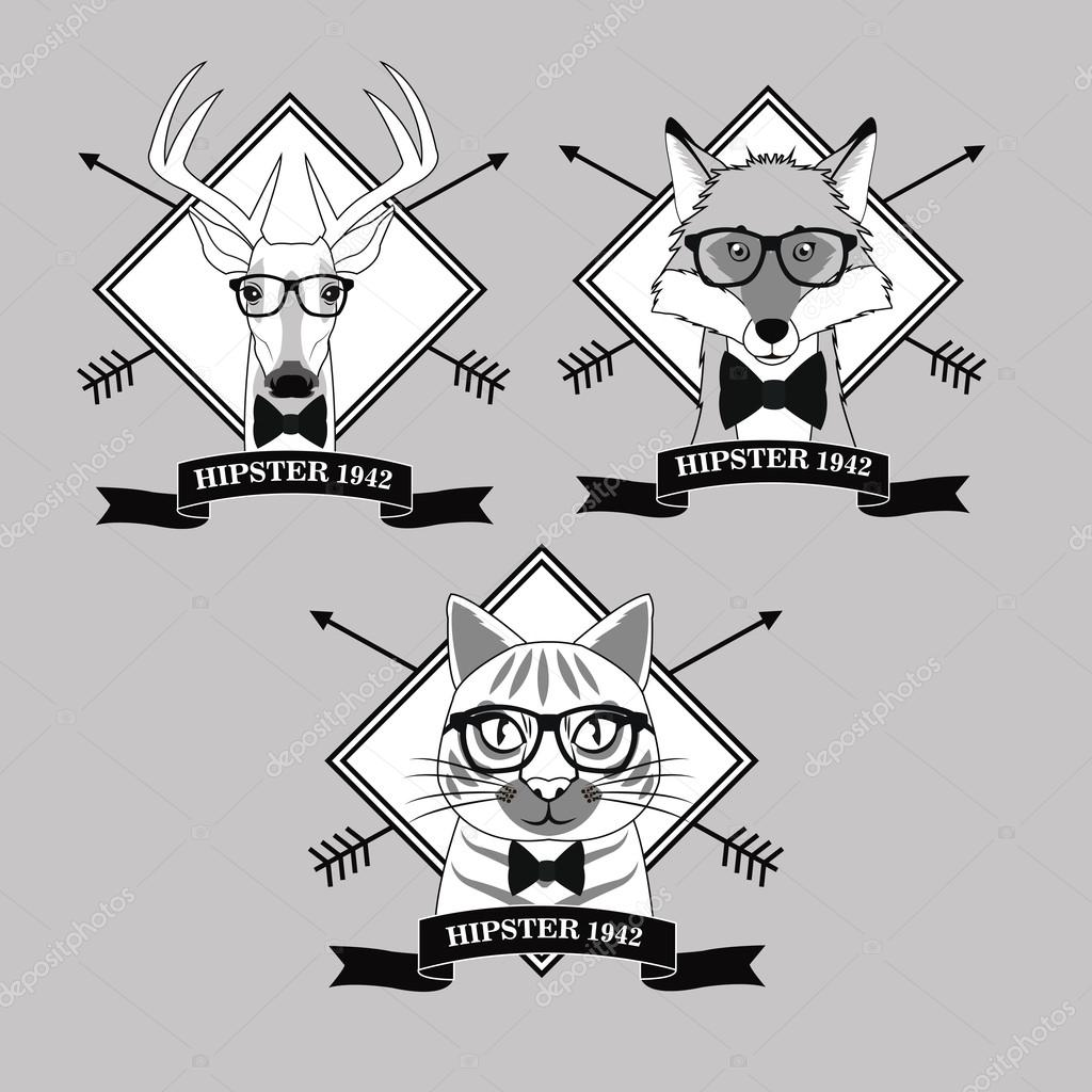0f68dcaac1 Cat reindeer deer fox glasses frame arrows animal hipster style retro fashion  icon. Black white grey illustration — Vector by ...