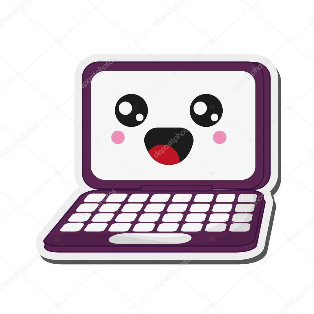 かわいいノート パソコン アイコン — ストックベクター © jemastock