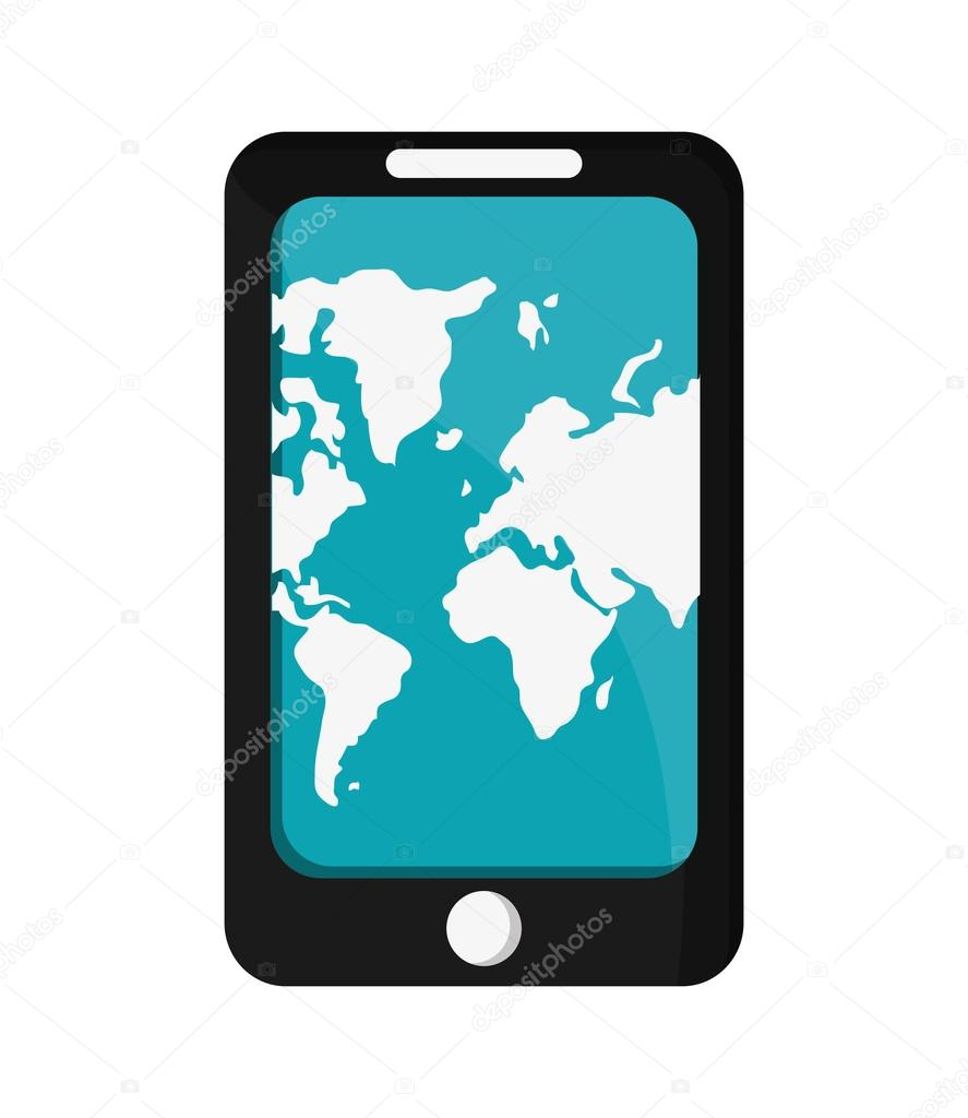 Modern cellphone with world map on screen icon stock vector modern cellphone with world map on screen icon stock vector gumiabroncs Images