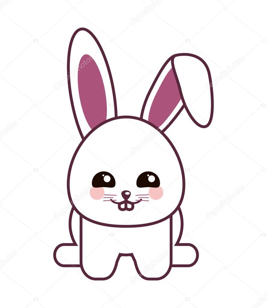 Disegno Di Coniglio Kawaii Del Fumetto Vettoriali Stock