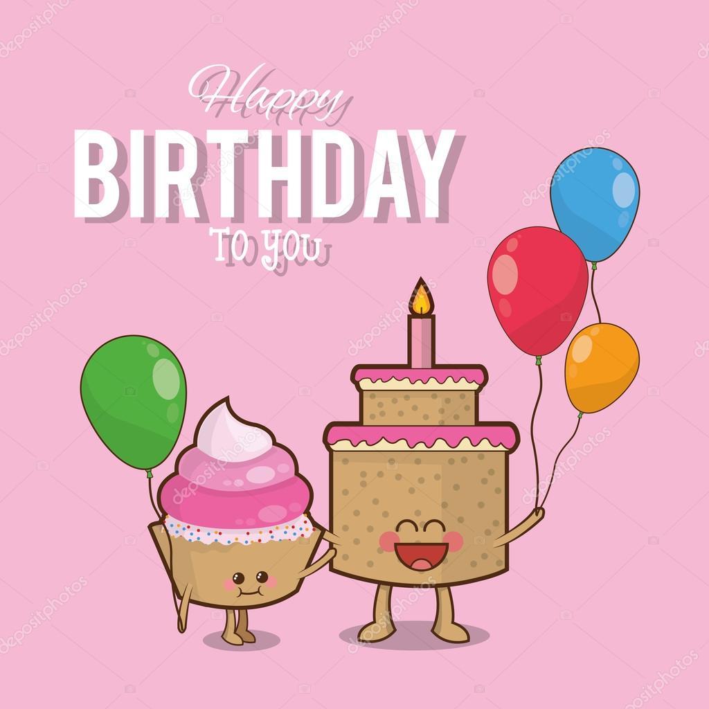 Diseño de torta muffin globos feliz cumpleaños — Vector de