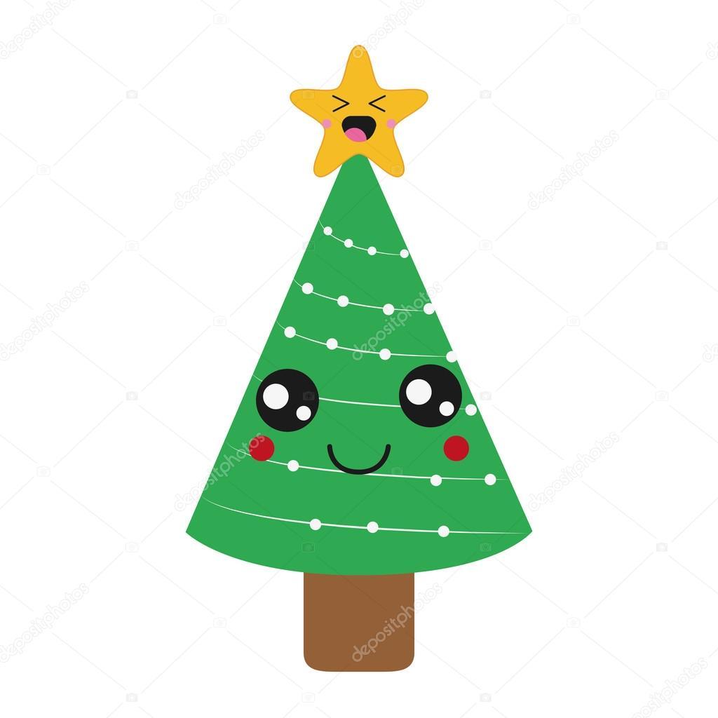 kawaii christmas tree icon — Stock Vector © jemastock #120786292