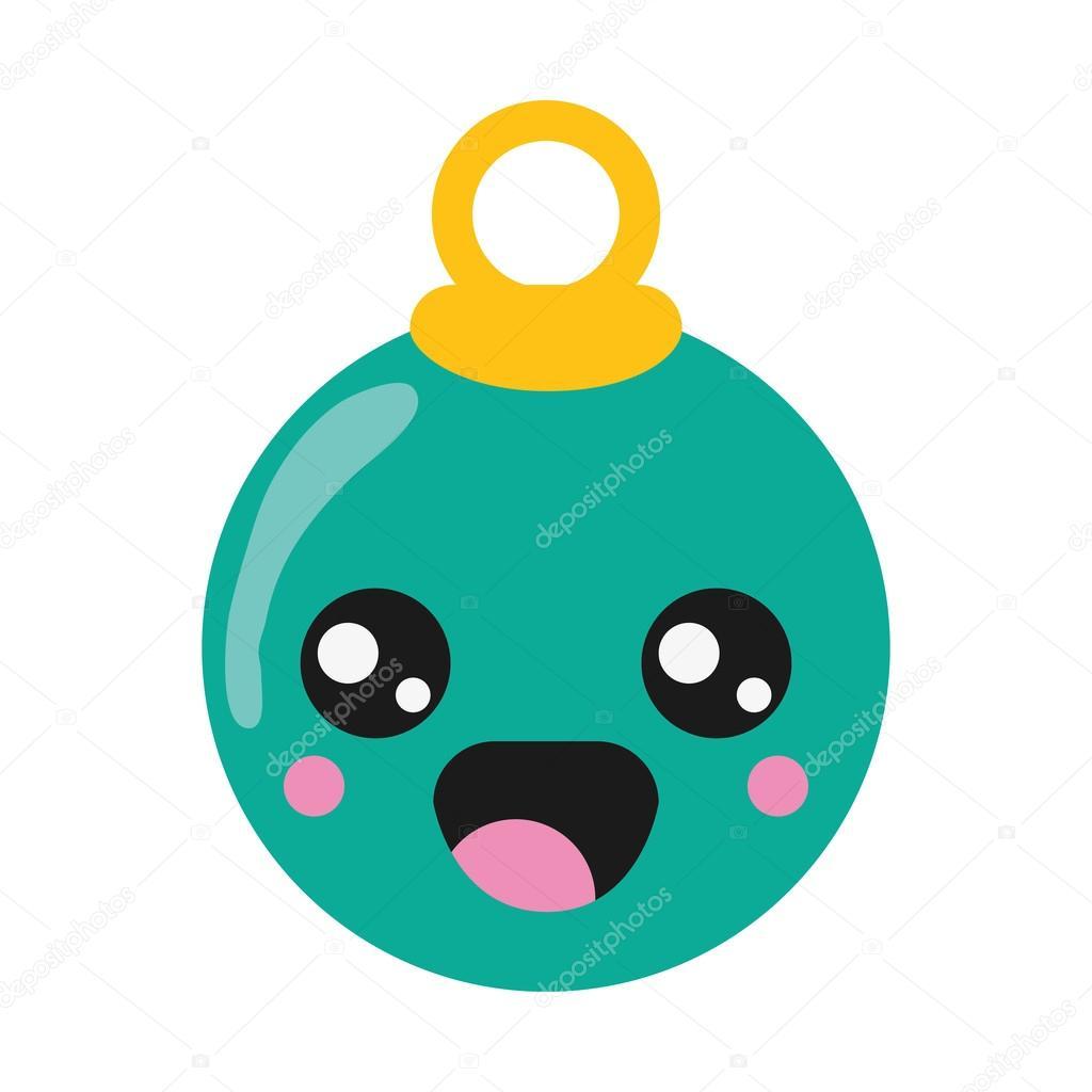 kawaii christmas tree ball icon — Stock Vector © jemastock #120786832