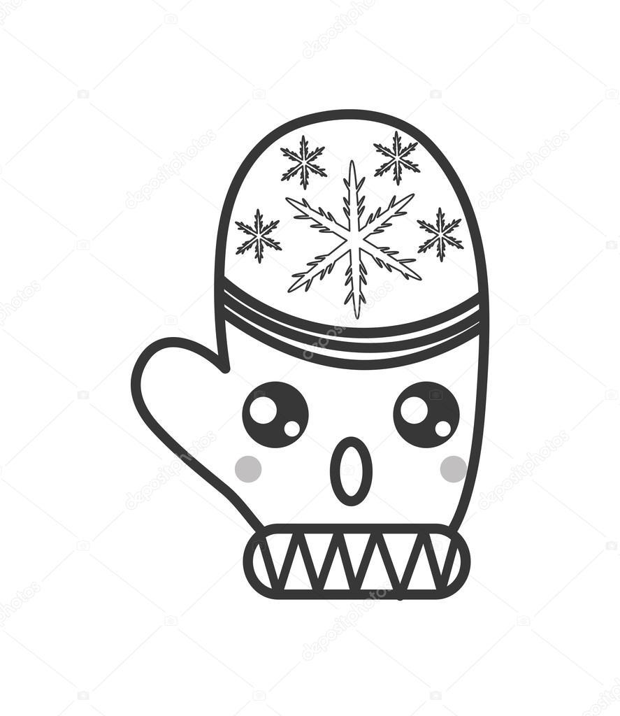 icono de mitones de invierno kawaii — Vector de stock © jemastock ...