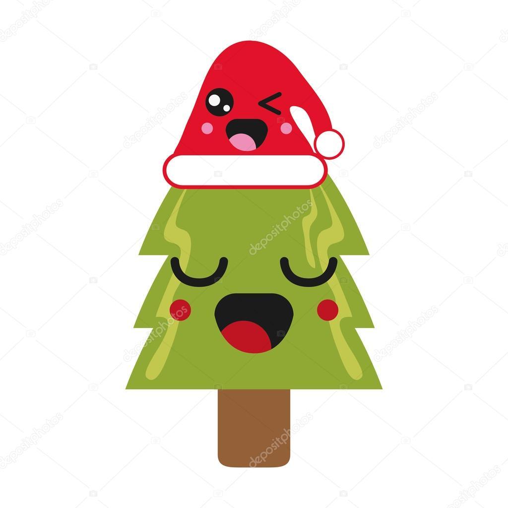 kawaii christmas tree icon — Stock Vector © jemastock #120788926
