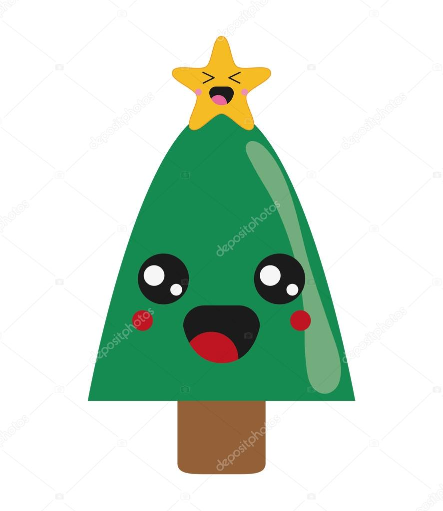 Immagini Natalizie Kawaii.Icona Dell Albero Di Natale Di Kawaii Vettoriali Stock C Jemastock