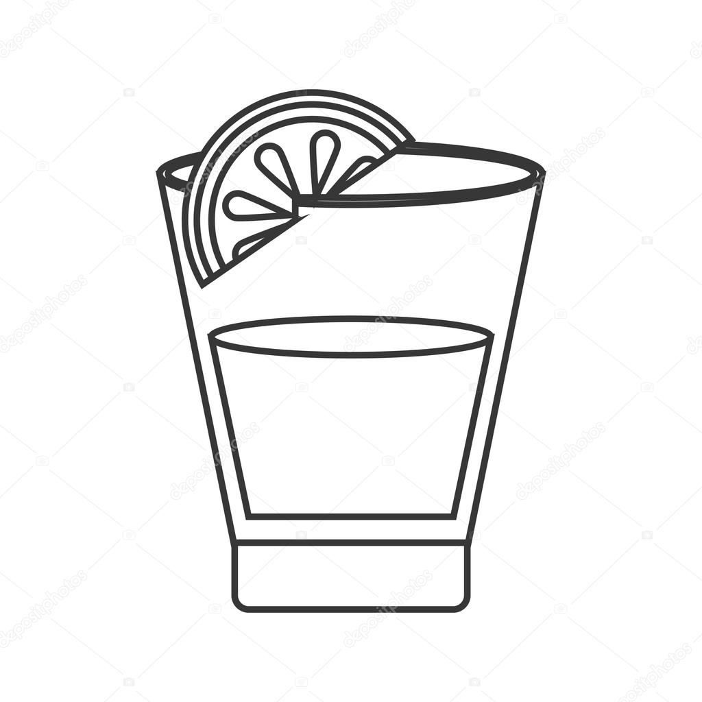 shot glass with lime outline clipart library