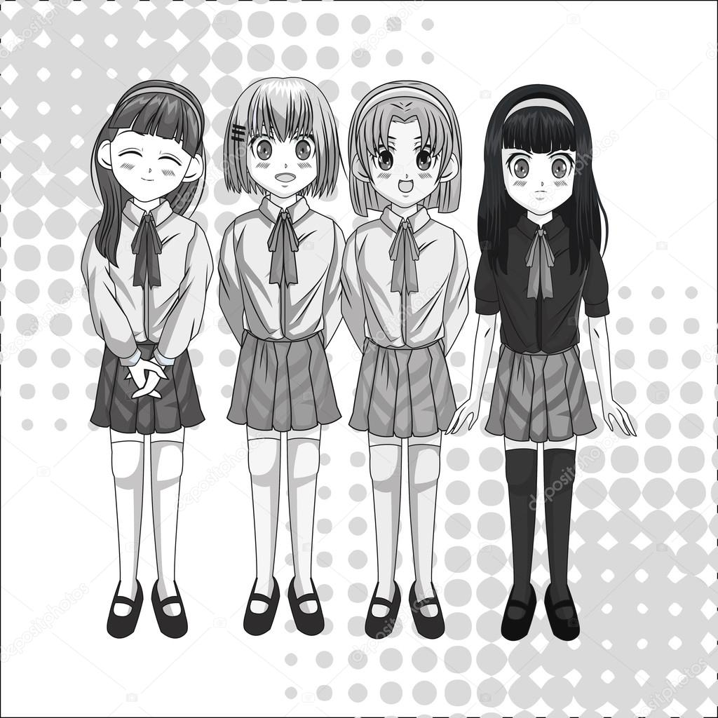 Conception De Fille Manga Dessin Animé Image Vectorielle