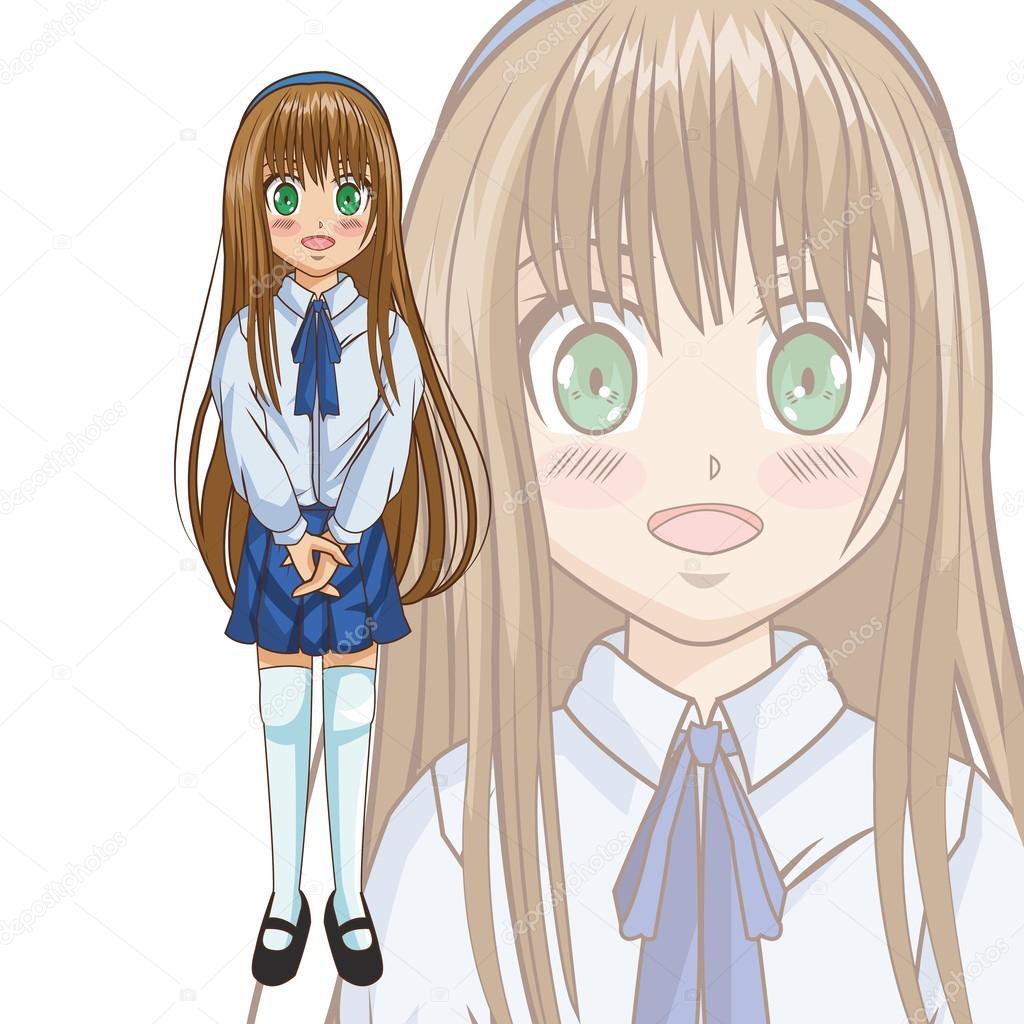 Diseño de niña de dibujos animados de manga — Archivo Imágenes ...