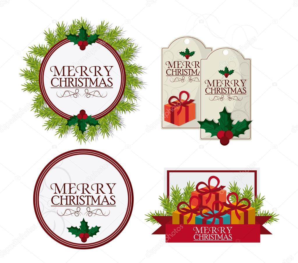 Etiketten Frohe Weihnachten.Frohe Weihnachten Etiketten Entwerfen Stockvektor Jemastock