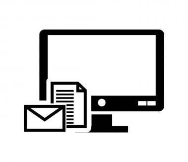 computer monitor and  message envelope  icon