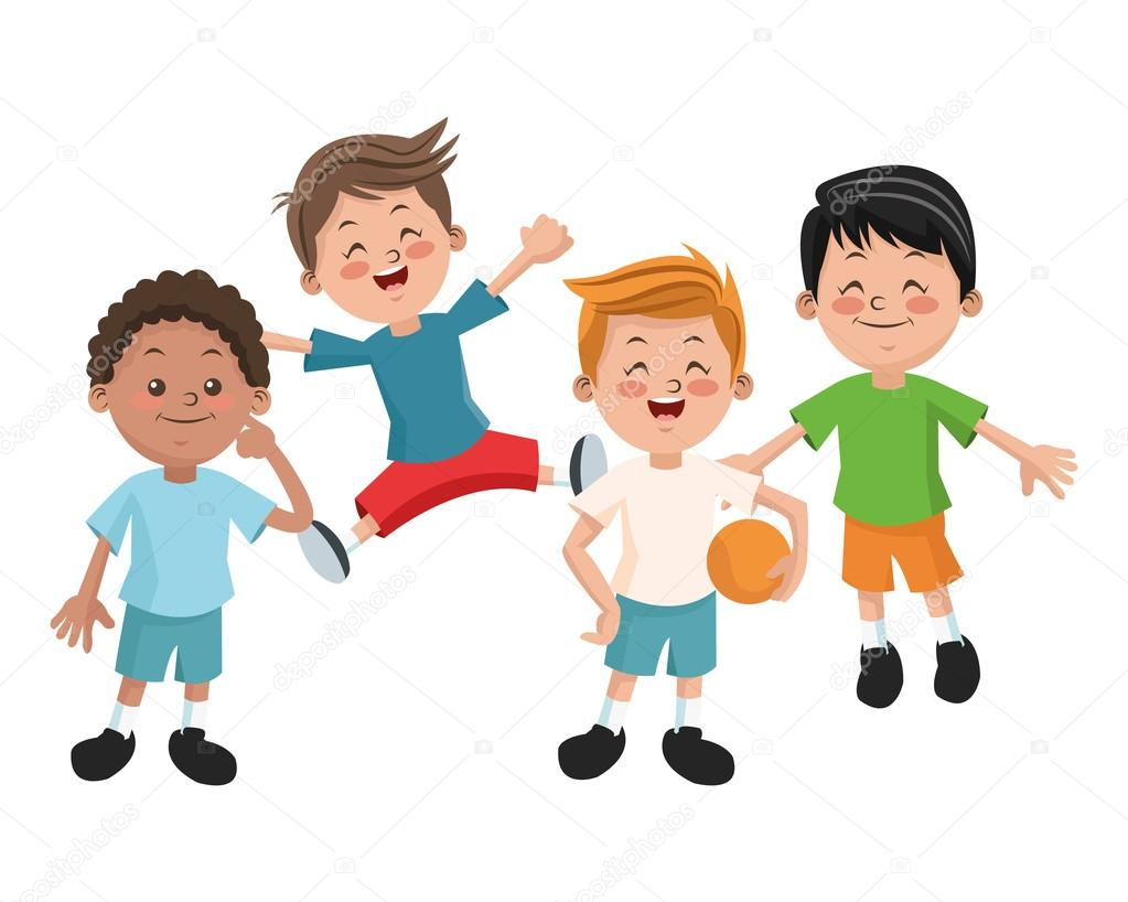 Dibujos Caras De Niños Felices Animadas: Grupo De Niños Felices De Dibujos Animados Niños