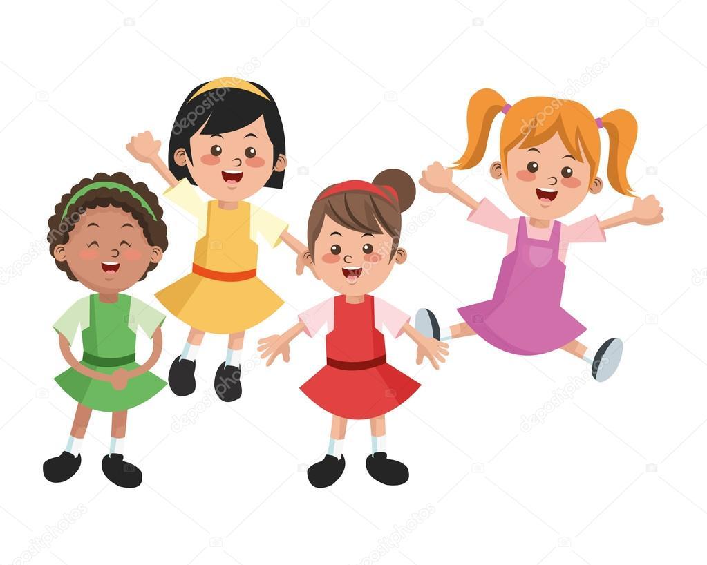 Grupo De Niños De Dibujos Animados De Niñas Felices