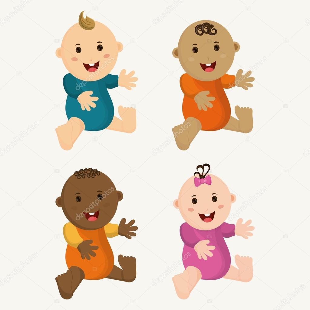 Dibujos Bebe Niño Bebé Niño Y Niña De Dibujos Animados Diseño