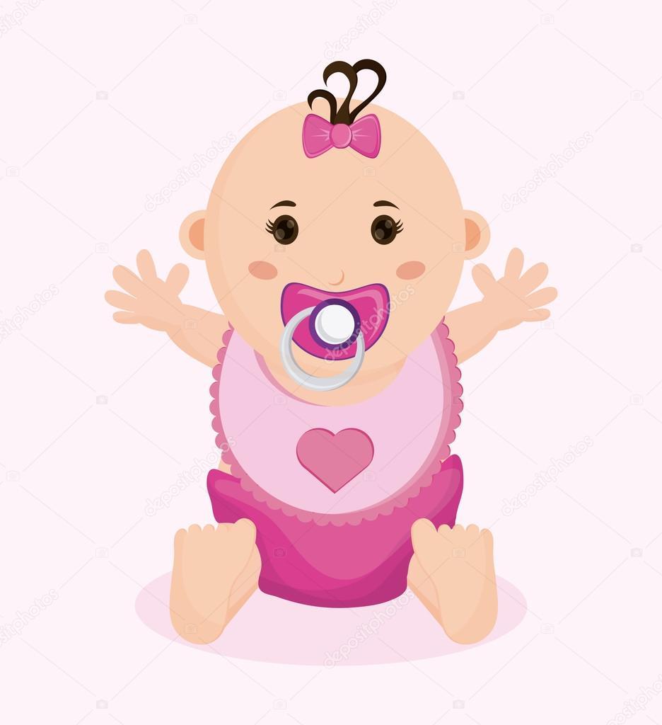 Baby Girl Cartoon Of Baby Shower Concept Stock Vector C Jemastock 124463936