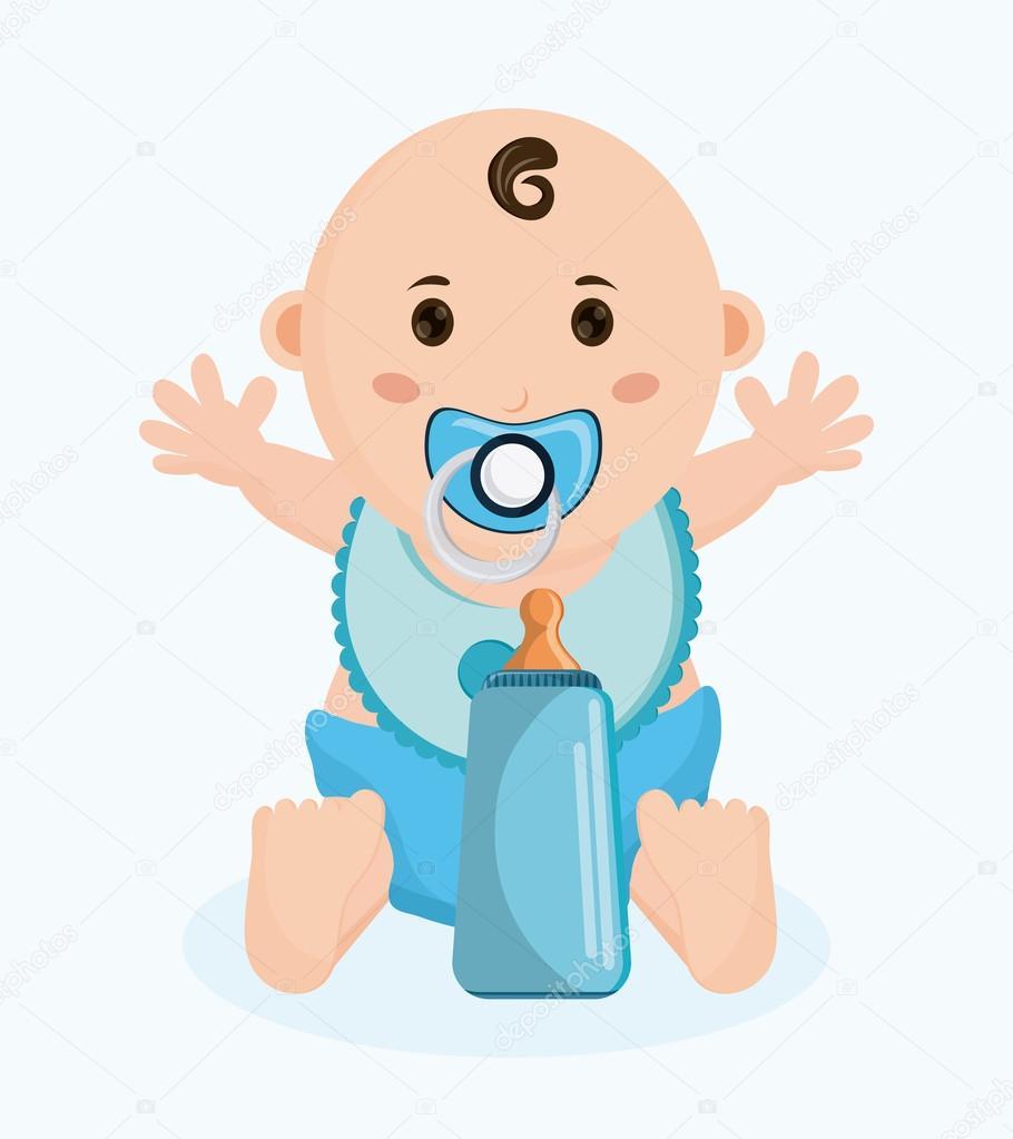desenho de beb menino tema de chuveiro e infncia do beb projeto isolado e colorido ilustrao vetorial vetor de jemastock
