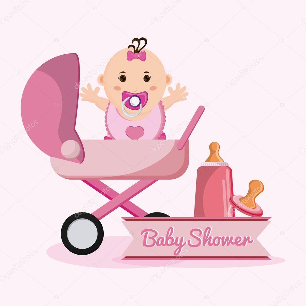 Dibujos Animados De Niña Bebé Del Concepto De Ducha De Bebé
