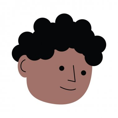 Afro young man head character icon vector illustration design icon