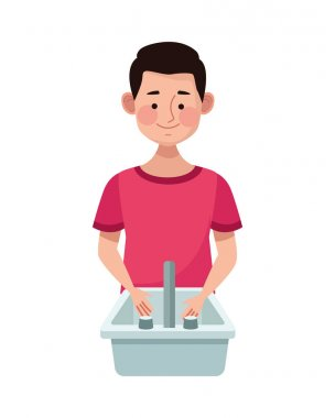Man in bathroom sink water isolated icon vector illustration design icon
