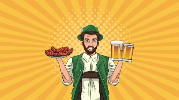 boldog oktoberfest ünneplés animáció német ember eszik kolbászt és sört