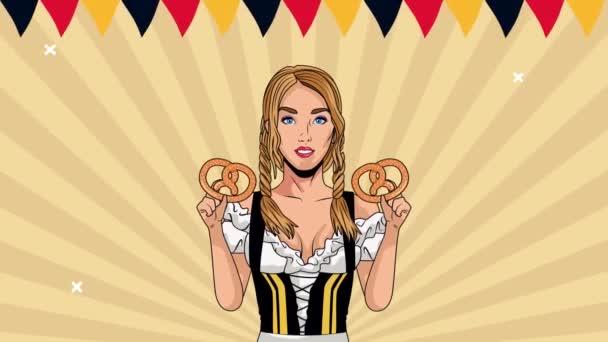 happy oktoberfest celebration animation with sexy girl lifting pretzels