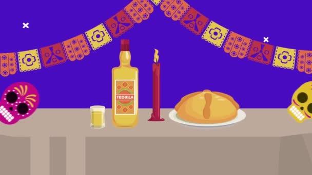 dia de los muertos Feier mit Tequila und süßem Kuchen