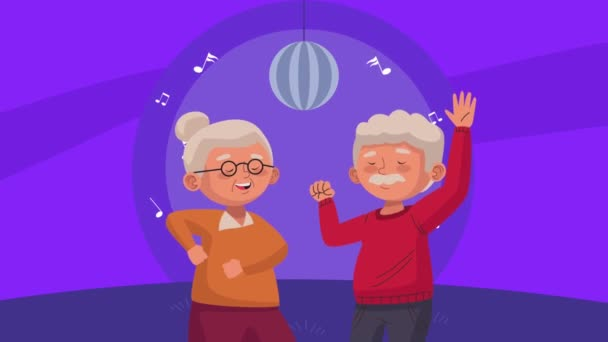 old couple lovers dancing in the disco characters