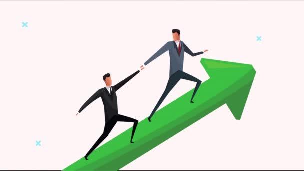 Erfolgreiches Unternehmer-Team klettert Pfeil