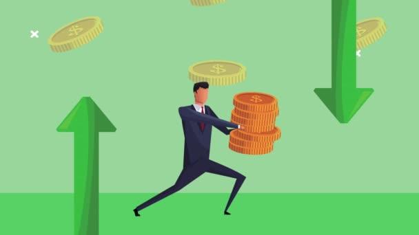 eleganter erfolgreicher Geschäftsmann hebt Münzen Geld Dollar