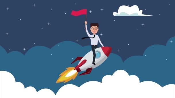 eleganter erfolgreicher Geschäftsmann fliegt in Rakete mit Fahne in Wolken