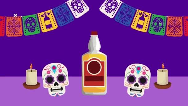 dia de los muertos Feier mit Totenköpfen und Tequila