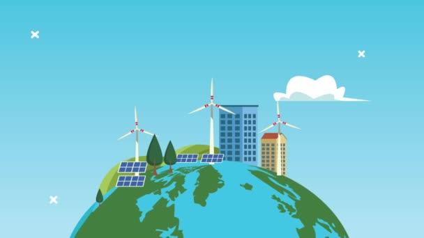 umožňuje zachránit svět animace se zeleným městem na planetě Zemi
