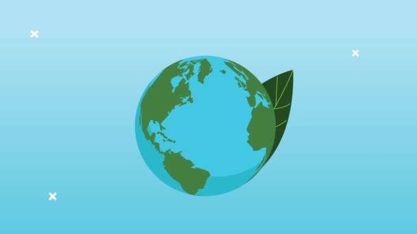 mentse meg a világ animáció a Föld bolygó és levelek
