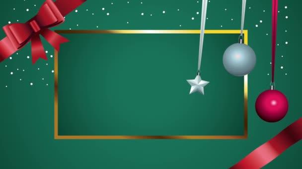 Veselé Vánoce čtvercový rám s kuličkami a lukem