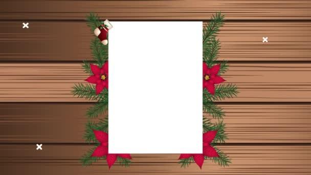 Frohe Weihnachten Karte mit Blumenrahmen im Holzhintergrund