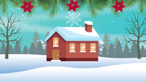 Frohe Weihnachten mit Haus in Schneelandschaft und Blumenrahmen