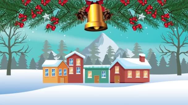 Šťastné veselé vánoční přání s domy ve sněhové scéně a zvonek