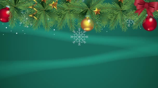 Šťastné veselé vánoční přání s listy a míčky visí