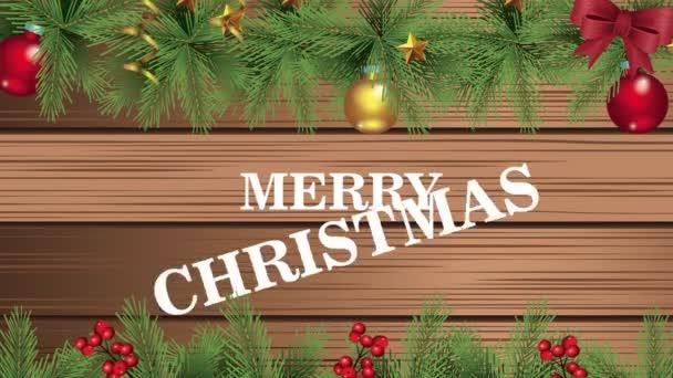 Šťastné veselé vánoční přání s květinovým rámečkem v dřevěném pozadí
