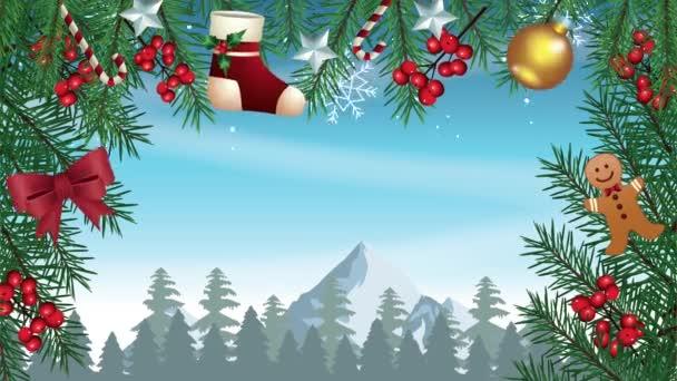 Šťastné veselé vánoční přání s ponožkami a míčky v rámečku věnec