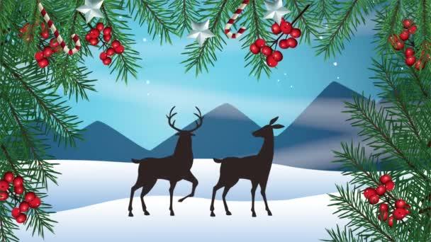 Boldog karácsonyt kártya rénszarvas és koszorú a hótáj jelenet
