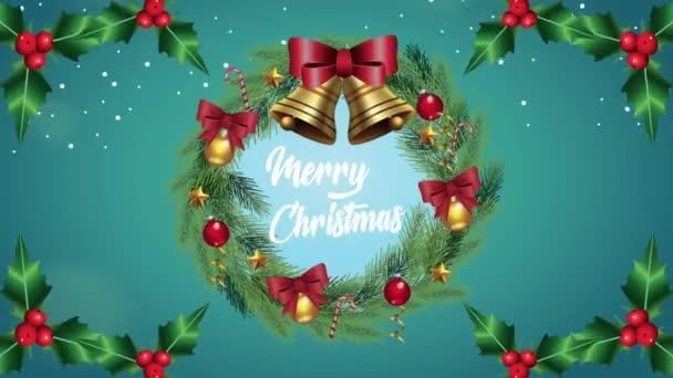 Šťastné veselé vánoční přání se zvonky v koruně věnce