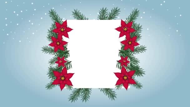 Frohe Weihnachten Karte mit Blumenrahmen