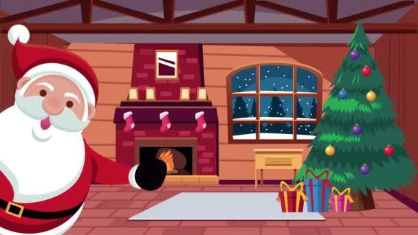 Šťastné veselé vánoční přání se Santa Clausem v domě