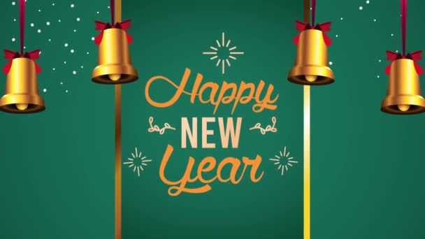 frohes neues Jahr Schriftzug-Karte mit Glocken hängen