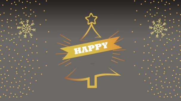 Boldog új évet levelező kártya arany fenyő és hópelyhek
