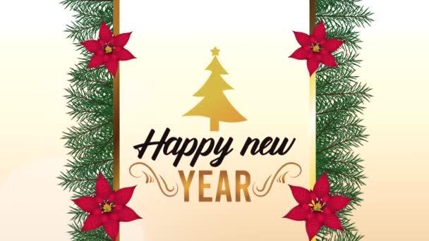 frohes neues Jahr Schriftzug-Karte mit Kiefer in floralem Rahmen