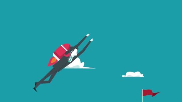 Eleganter Geschäftsmann fliegt mit Rakete und Erfolgsfahne